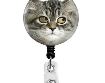 Retractable Badge Reel - Cat ID Badge - Badge Reels - Funny Cat Badge Reel - Funny Badge Reel