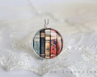 literary gifts Book Necklace, Librarian Necklace, Resin Necklace, Book lovers Necklace, Resin Jewelry,Pendant statement  N002