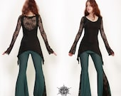 Bohemian lace top. Crochet top, long sleeves top. Goddess top. Goth top. Romantic top. Open back top. Festival. Gothic top