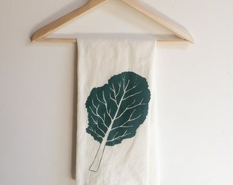 Kale Tea Towel, Screen Printed Flour Sack Towel