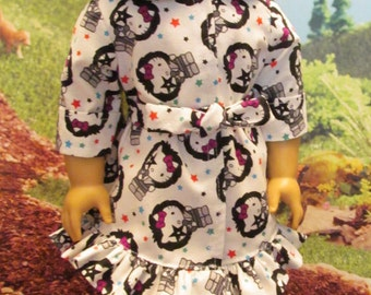 Dress to Fit Your 18'' Dolls, Tie Waist Dress,White with Cat Print, Great for School, Everyday, Play , Fun, Shopping,Parties and More