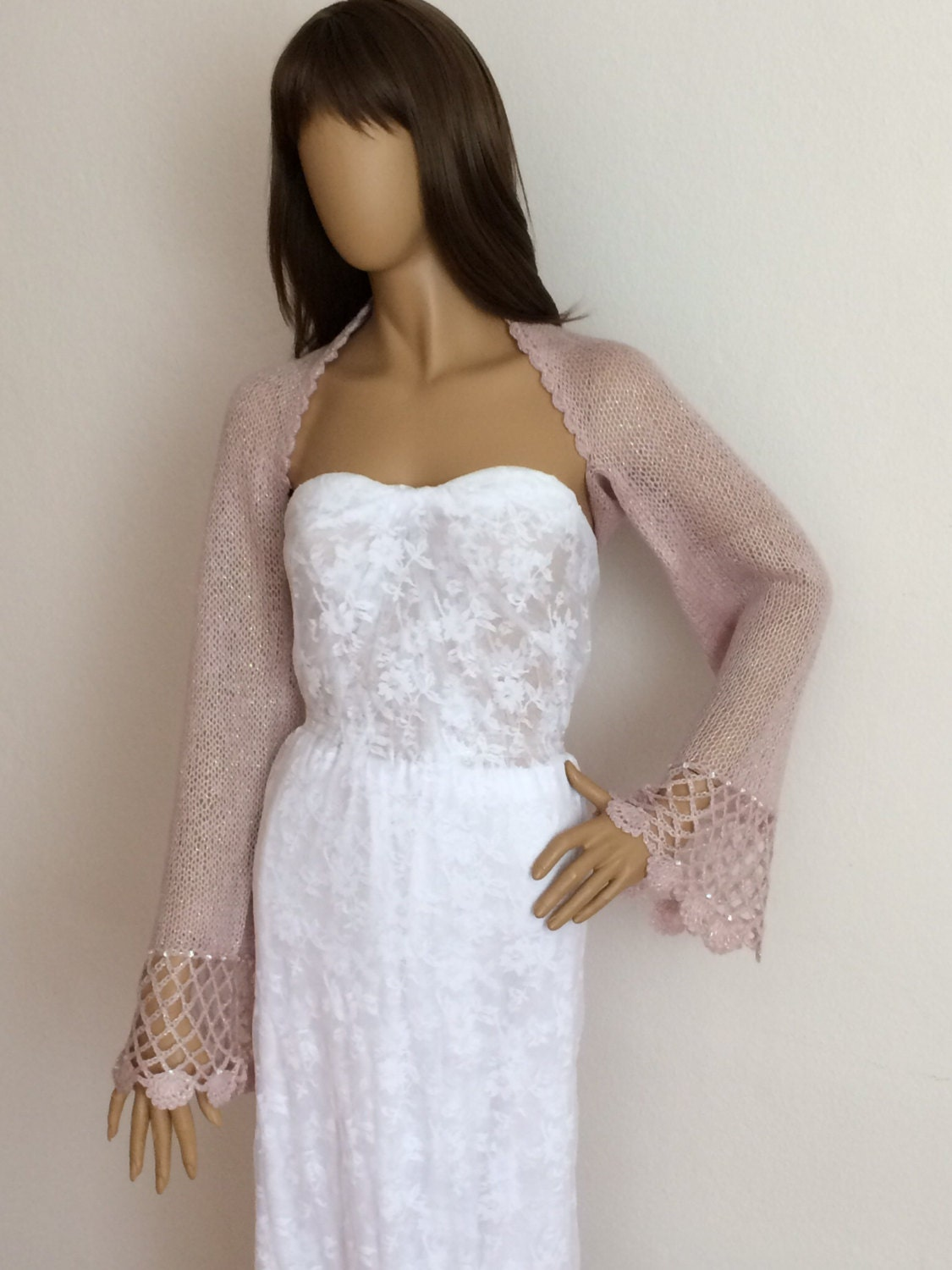 Bolero bridal shrug pink wedding bolero evening shawl for Wedding dress with shrug