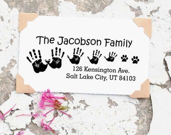 Family Address Stamp, Custom Wood Address Stamp, Self inking Address Stamp, Custom Family Hand Prints Stamp, Personalized Gift 10047