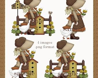 Prairie Girls 1 - Digital Clipart Graphics Images