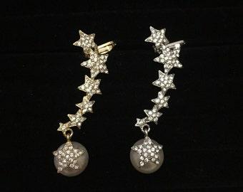 Star pearl crystal rhinestone ear cuff - left ear