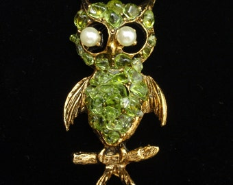 Owl Brooch Pin with Olivine Stones Vintage