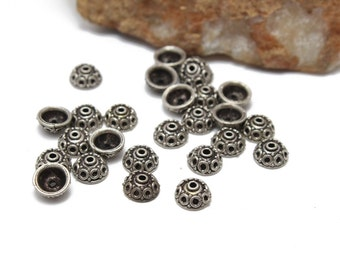 Sterling Silver 925 Bali Style Bead Caps 8mm 3pcs