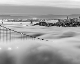 Black and White San Francisco Photograph - Golden Gate Bridge Print - Monochrome San Francisco Fog over the Bay and City Sunrise Panoramic