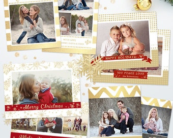 Bundle Holiday Christmas Card Templates for Photographers - SAVE 45% - 5x7 Holiday Photo Cards 05 - C290, Instant Download