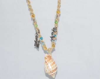 Sea Shell Necklace with Charms, Beaded, Natural Hemp, Macrame Hemp Necklace, Hemp Cord Necklace