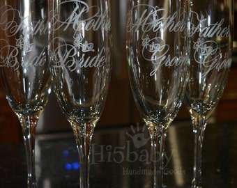 Etched father/mother of the bride/groom champagne flutes/ champagne flutes/ personalized flutes/ etched flutes/ wedding flutes/ anniversary