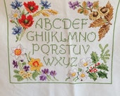 Completed Embroidery Four Seasons Cross Stitch ABC Poppies Daffodils Chestnuts Holly