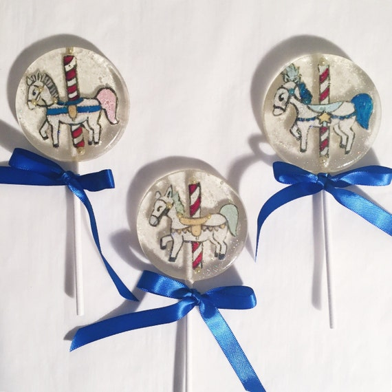 3 Caramel Apple Flavored Hand Painted Carousel Horse Lollipops