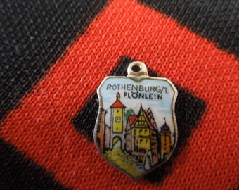 Enamel Rothenburg Plonlein Germany 800 Silver Travel Shield Charm for Bracelet from Charmhuntress 02971