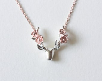 Flower deer statement necklace, antler necklace, rose gold necklace, rose gold jewelry, silver necklace, animal jewelry, bridesmaid gift