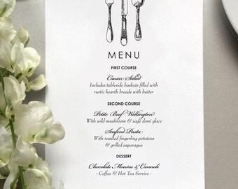 Wedding Menu Card - Vintage Inspired Wedding Menu Cards - Printed Wedding Dinner Menus - Summer Wedding Menus