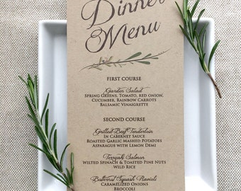 Wedding Menu Card - Rustic Wedding Menu Cards - Kraft