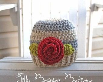 Crochet Girl Hat, Baby Girl Hat, Crochet Beanie, Flower Hat, Flower Beanie, Newborn Hat, Infant Hat, Kids Hat, Children Hats, Girl Hats