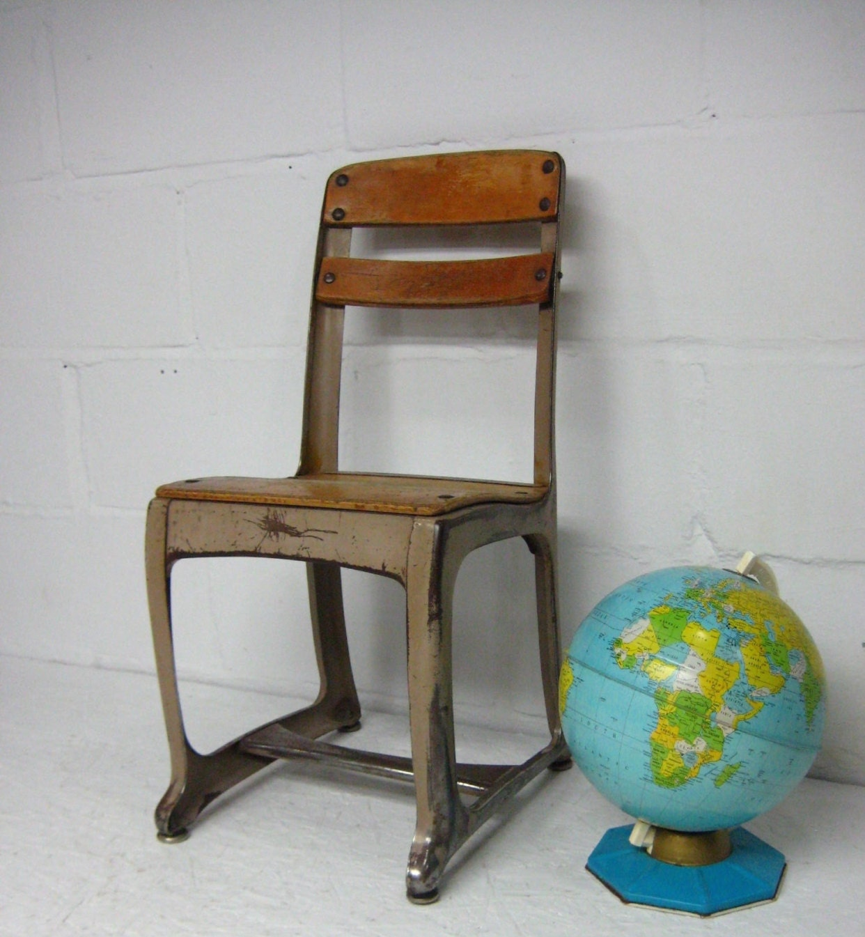 vintage metal and wood chair child s chair american seating envoy