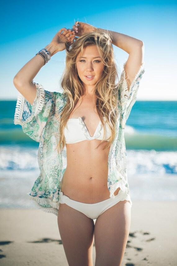 Paisley Kimono Beach Cover up, Green Kimono Cardigan w Cream Fringe, Cover Up Swim, Womens Kimonos, Bohemian Kimono, Swim Suit Cover