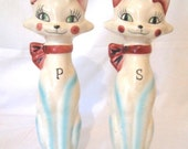 Ceramic Tall Cats Salt Pepper Shakers Vintage Japan 1940's 50's Kitsch Kittens Green Eyes Pink and Blue Cottage Chic Animals Figures Statues