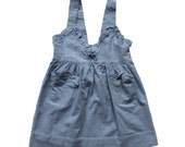 FRENCH VINTAGE 50's / kids / apron dress / pinafore dress / plaid cotton / blue and white colours / new old stock / size 3 years
