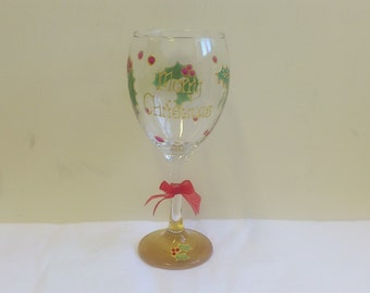 Personalised Christmas Wine glass with Holly design Hand Painted by Luci Lu Designs