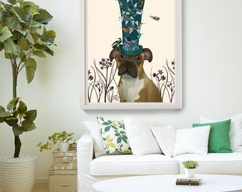 Boxer Gift - Boxer with Birdhouse Hat - Boxer dog art print funny dog gift home office decor home décor dog painting dog print dog art