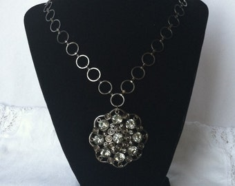 Gunmetal  and Rhinestone Flower Pendant on Gunmetal Chain  Necklace