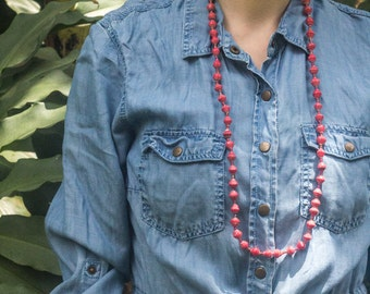 Red Paper Bead Necklace-Long