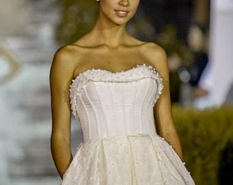 Modern Edwardian wedding dress from taffeta, Ivory Wedding Dress with handmade corset, Alternative french wedding dress in vintage style