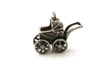 Baby Carriage Bracelet Charm Sterling Silver 3D Stroller