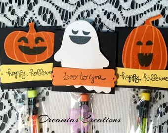 Halloween Favors (10 Pack) Ready to Ship - Halloween Pencil Treat Bags and Toppers, Party Favors or Trick or Treat