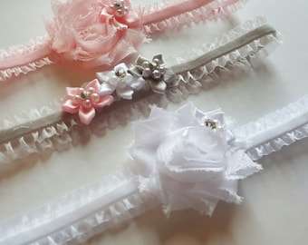 New! Set of 3 Pretty Petite Infant Headbands. Newborn Headbands. Her First Headband.