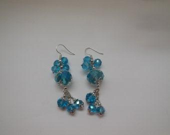 Sparkly Blue - handmade dangling earrings