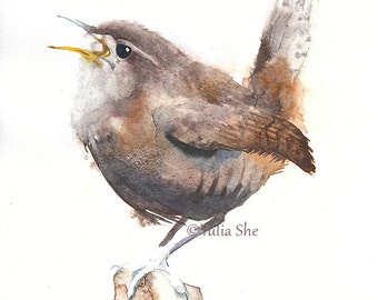 "Original watercolor painting bird carolina wren 7"" x 11"""