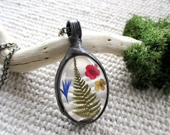 real plant necklace, botanical, dried plant, terrarium necklace, real flowers necklace, handmade