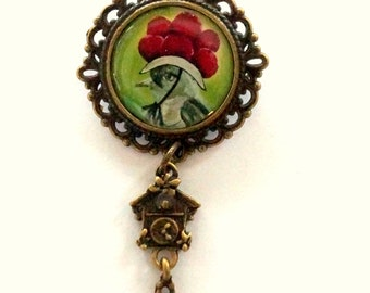 Black Forest cuckoo Lady Crackle Hat brooch