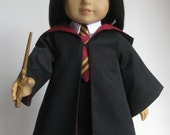 "Hogwarts Harry Potter Hermione Gryffindor Inspired 5 piece Wizard school outfit for 18"" Dolls/American Girl dolls - Handmade"