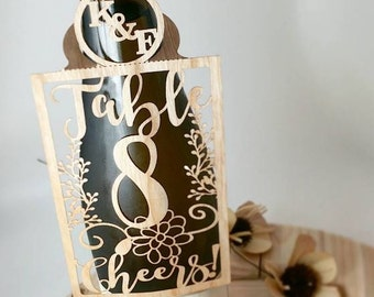 Table Numbers - personalized wine tags made of thin wood paper