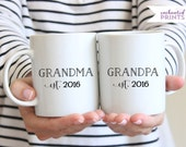 Personalized Grandma and Grandpa Year Established Set, Ceramic mug, Grandparents mugs, coffee mug gift, tea mug gift, 11oz mug
