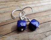 Lapis Cube Earrings and Sterling Silver, Pierced Earrings, AAA Lapis, Artisan Style, Boho Style, Beachy, Hill Tribe Silver