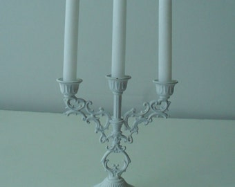 White Ornate Metal Mini Candelabra by Interpur Italy with Candles