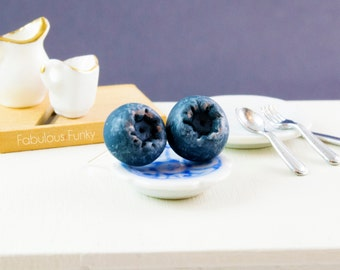 Blueberry earrings miniature food