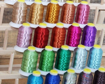 METALLIC THREAD SET -  25 Different Colors Cones Spools For Machine Embroidery, Sewing, Quilting