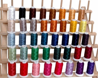 MACHINE EMBROIDERY THREAD - 40 Color Set of Polyester Thread on 500M Cones Spools Fits Brothers Embroidery Machines - 4 Sets Available