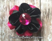 SALE Hot Pink & Black Layered Satin Flower, Black and Pink Hair Bow, Hair Accessory, Flower Alligator Clip, Flower Girl Accessory, Clip