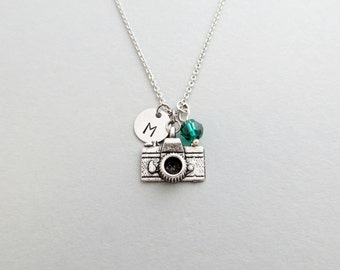 Camera Initial Necklace Personalized Hand Stamped - with Silver Camera Charm and Swarovski