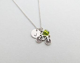 Bicycle Initial Necklace Personalized Hand Stamped - with Silver Bicycle Charm and Swarovski