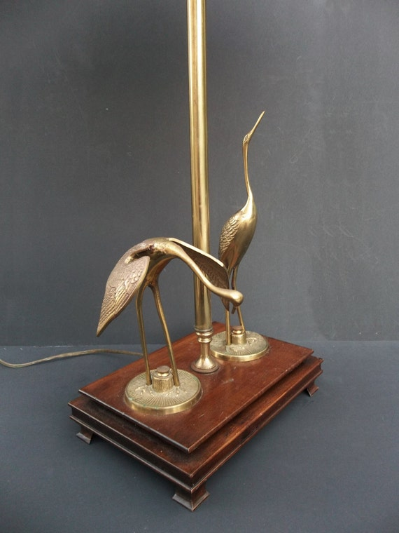 brass crane stork heron on wood base table lamp by lotusinthewind. Black Bedroom Furniture Sets. Home Design Ideas
